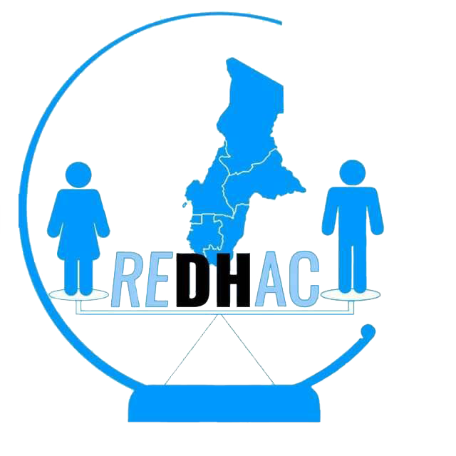 "A blue circle with two people and a map of Central Africa, and the acronym ""REDHAC"""