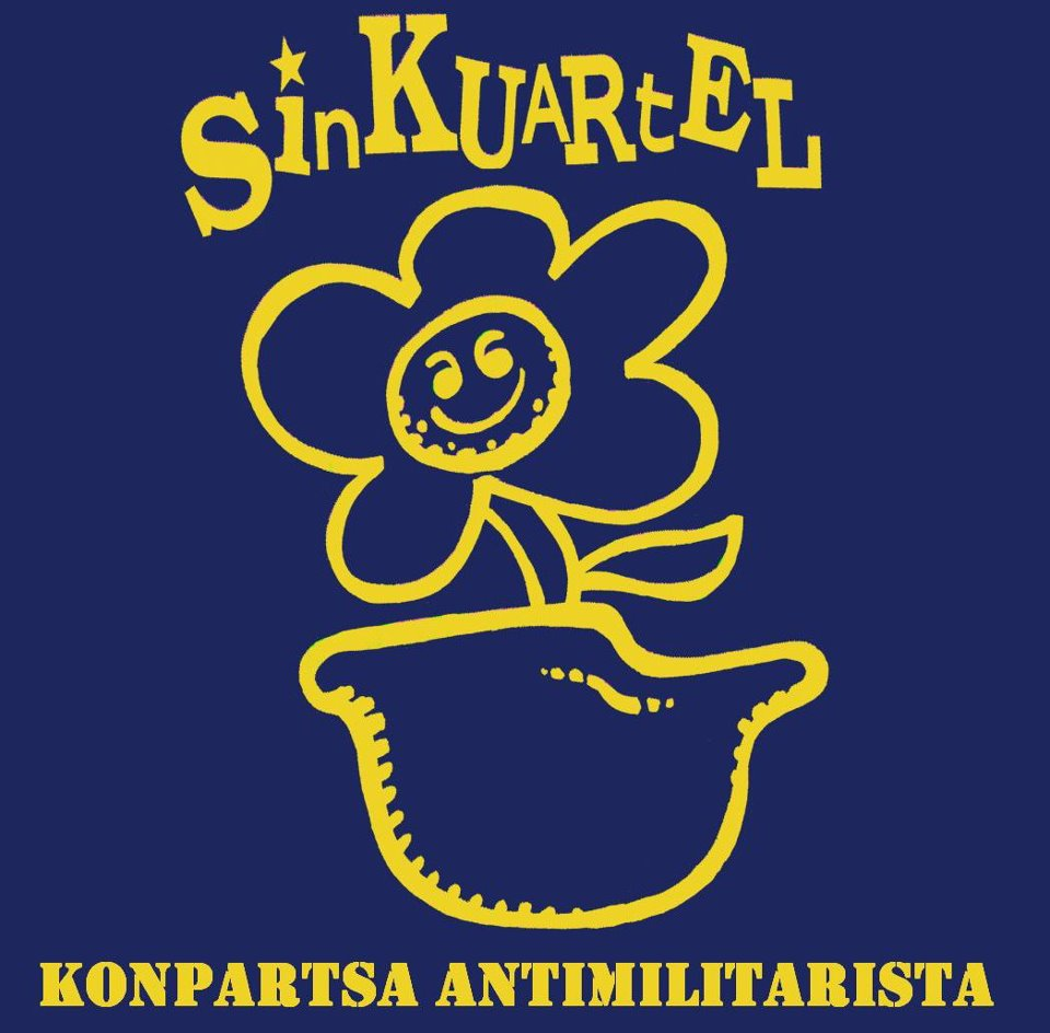 A logo design, with a flower growing in a military helmet