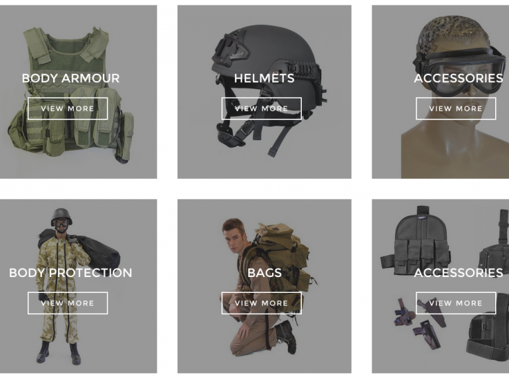 A screenshot from the Imperial Armour website showing body armour, helmets, goggles, holsters and other equipment