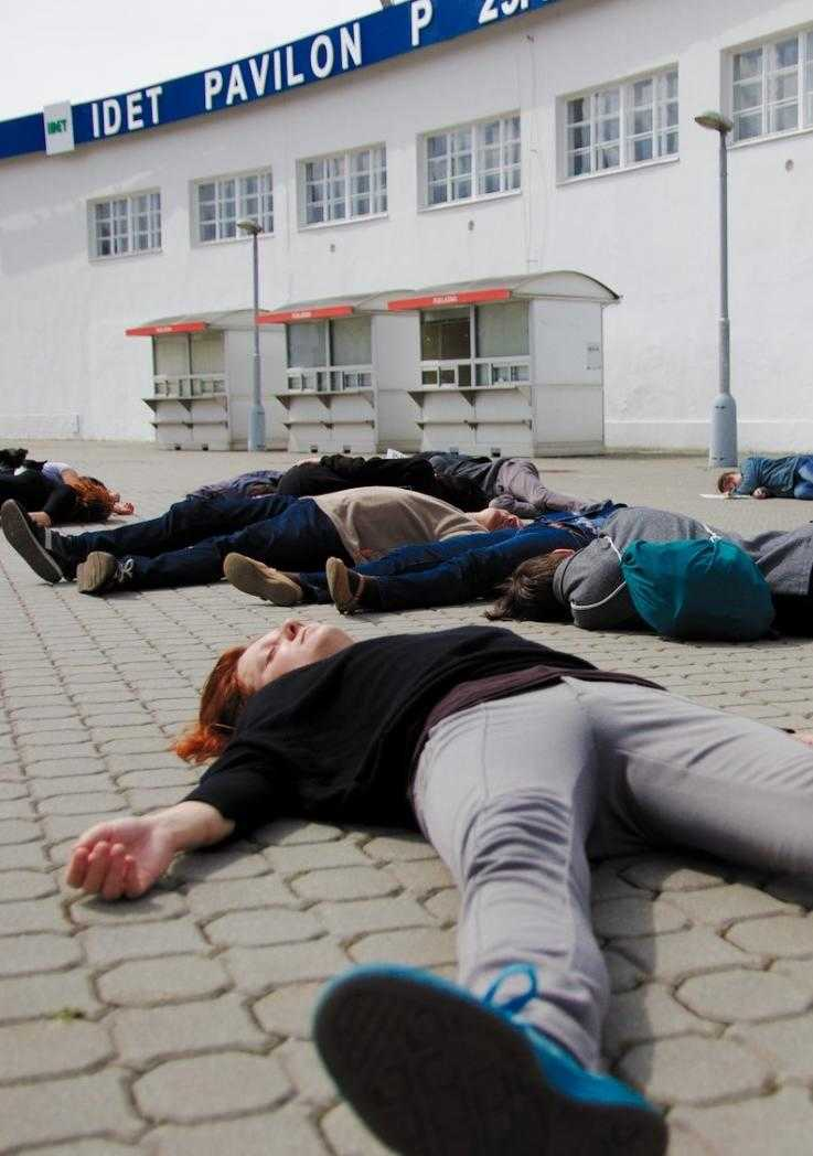 A die-in outside the IDET arms fair