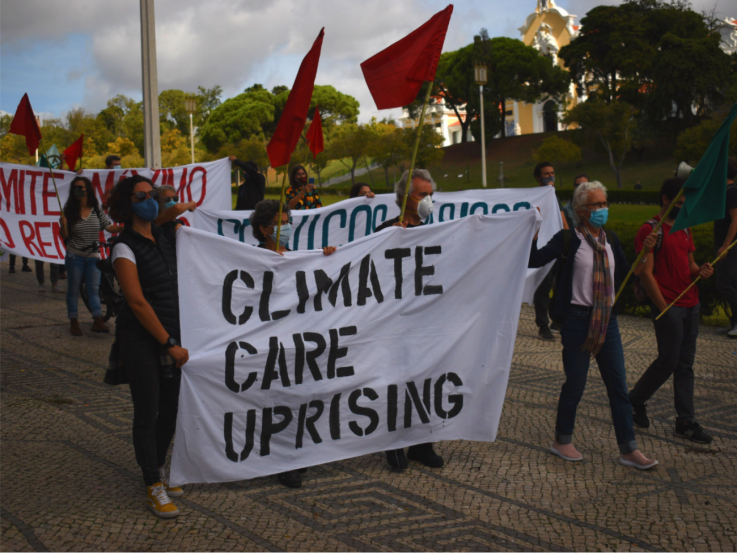 Activists with the group Climáximo gathered in Lisbon, Portugal on Oct. 5 as part of the Climate Care Uprising — a wave of actions across Europe organized by the By 2020 We Rise Up platform. (WNV/Pedro Alvim)