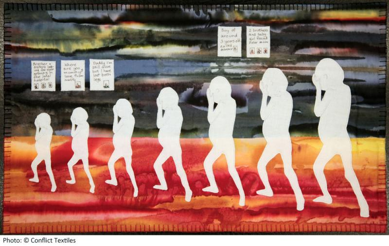 Lost Children of war, Northern Ireland arpillera, Irene MacWilliam, 2009, Photo Martin Melaugh, Conflict Textiles collection