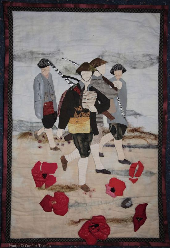Walking to Death, Northern Ireland quilt, Helen Herron, 2003, Photo Martin Melaugh, Helen Herron collection