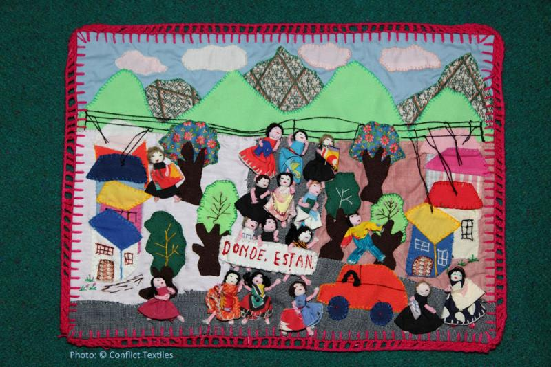 ¿Dónde están? / Where are they? Chilean arpillera, Anonymous, 1980s, Photo Martin Melaugh,  Conflict Textiles collection. Provenance Theresa Wolfwood, Victoria, Canada
