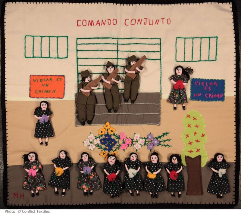 Violar es un crimen / Rape is a crime, Peruvian arpillera, MH, Mujeres Creativas workshop, 2008, Photo Martin Melaugh, Conflict Textiles collection