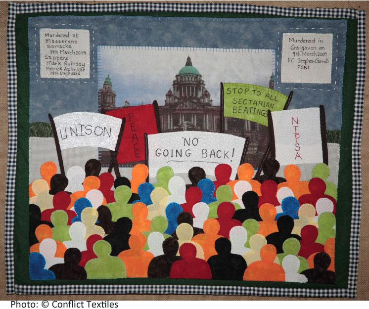 No going back, Northern Ireland arpillera, Sonia Copeland, 2009, Photo Martin Melaugh, Conflict Textiles collection