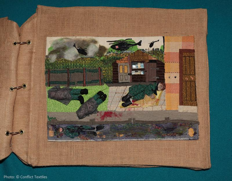 Soldiers back from the wars (2/4) – Attack, English arpillera, Linda Adams, 2010, Photo Martin Melaugh, Conflict Textiles collection