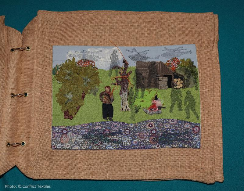 Soldiers back from the wars (3/4) – Ghost, English arpillera, Linda Adams, 2010, Photo Martin Melaugh, Conflict Textiles collection