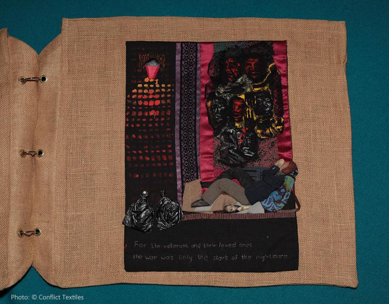 Soldiers back from the wars (4/4) – Return, English arpillera, Linda Adams, 2010, Photo Martin Melaugh, Conflict Textiles collection