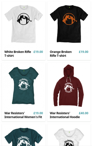 Picture of a selection of War Resisters' International t-shirts on sale at Teemill