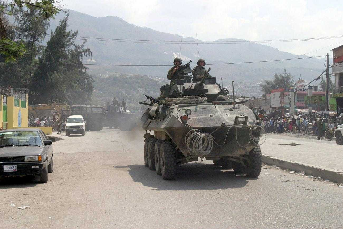 An Light Armored US Military Vehicle in the capital city of Haiti