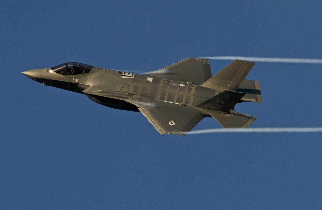 An F35 jet flies through the air