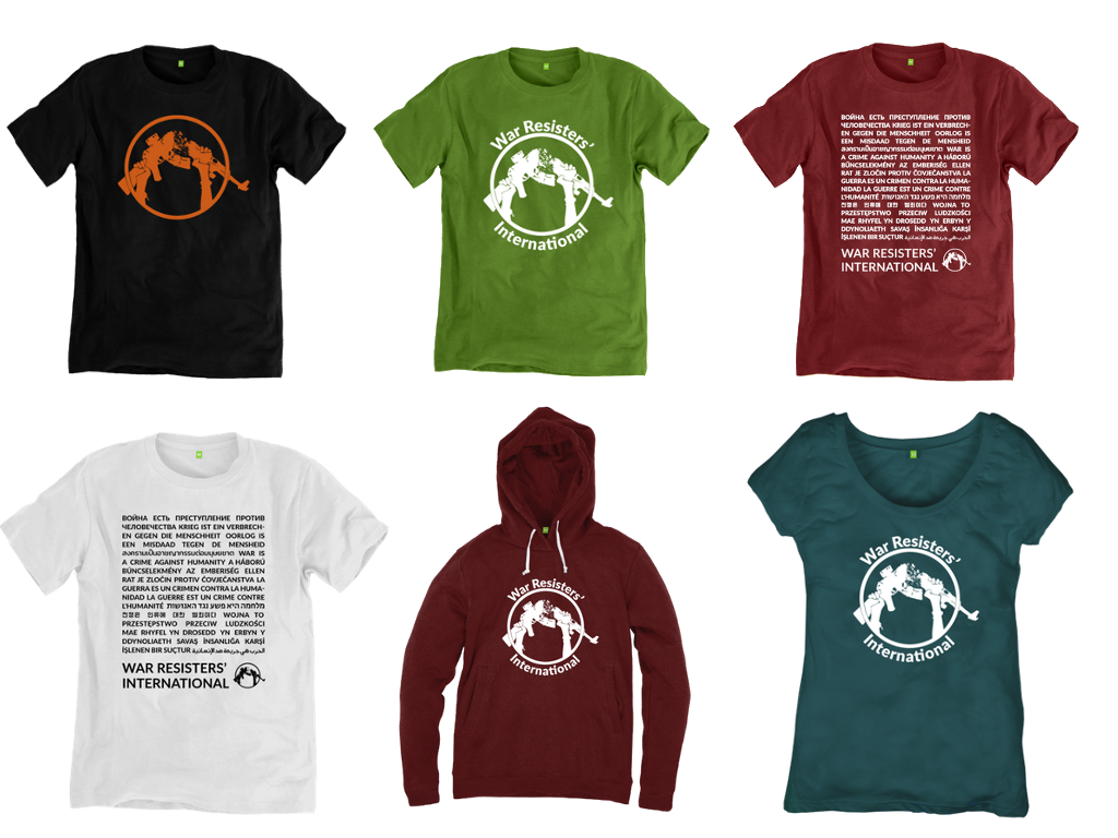 A range of the t-shirts and hoodies that WRI sells from it's online shop.