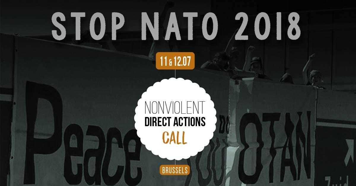 Poster that reads: Stop NATO 2018 11&12 .07 Nonviolent Direct Actions Call