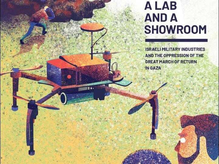 "The front cover of the ""A lab and a showroom"" report, showing an illustrated drone with a protester in the background"