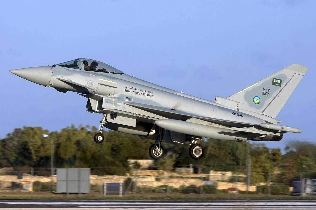 A Eurofighter Typhoon taking off