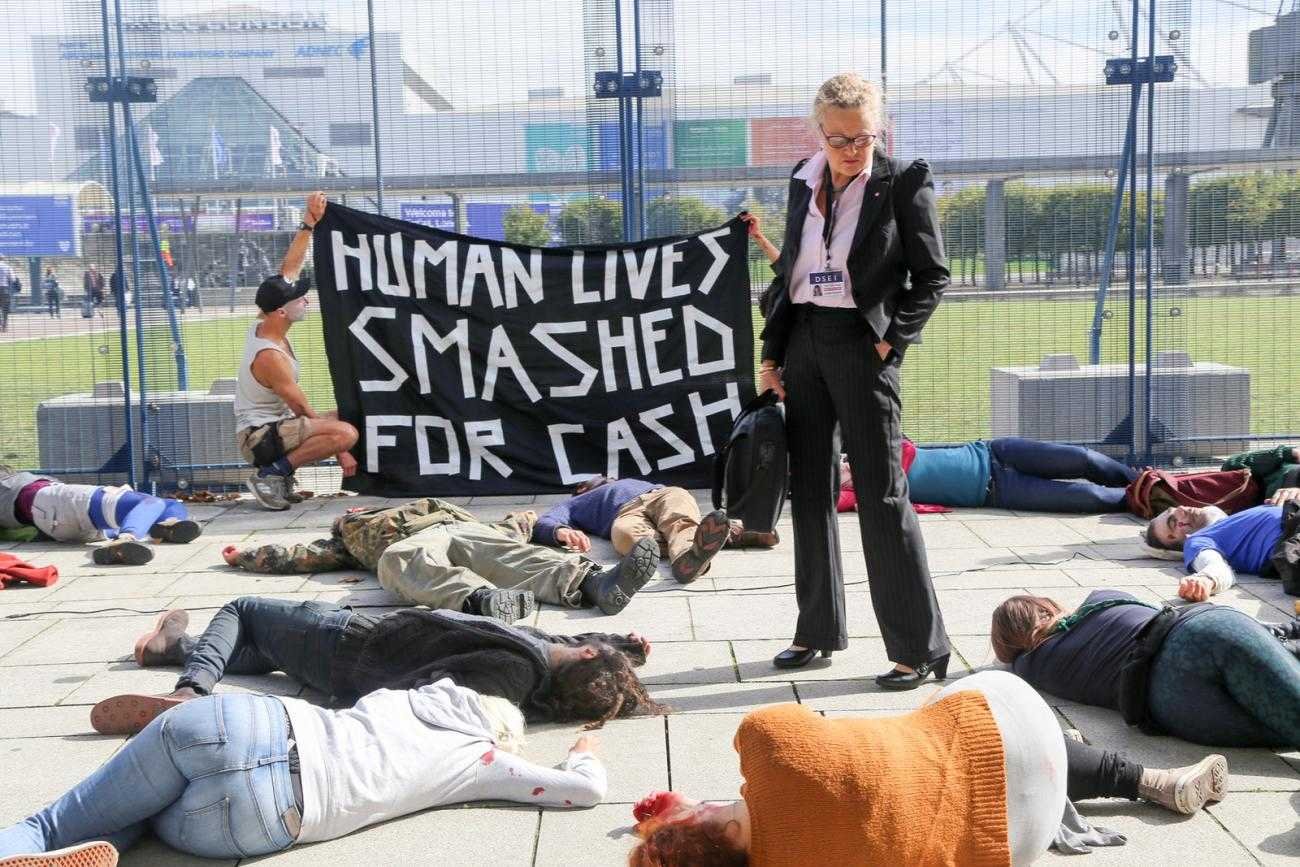 A die-in at DSEI