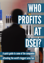 "The front cover of our ""Who profits at DSEI?"" booklet"