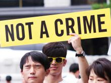 Protest in Seoul in support of conscientious objectors. Photo Credit: World without War