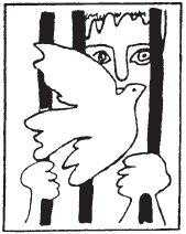 Image of peace dove behind bars