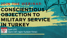 Conscientious Objection to Military Service in Turkey Webinar poster