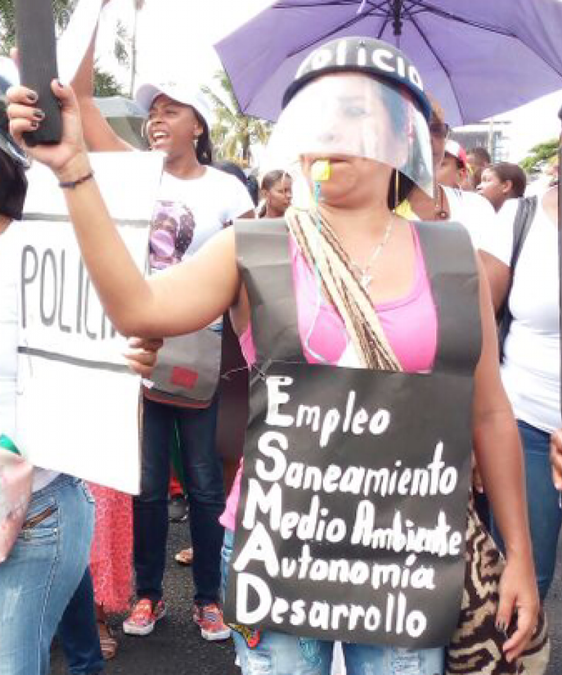 Protesters in Buenaventura, Colombia, dressed in mock police clothes.