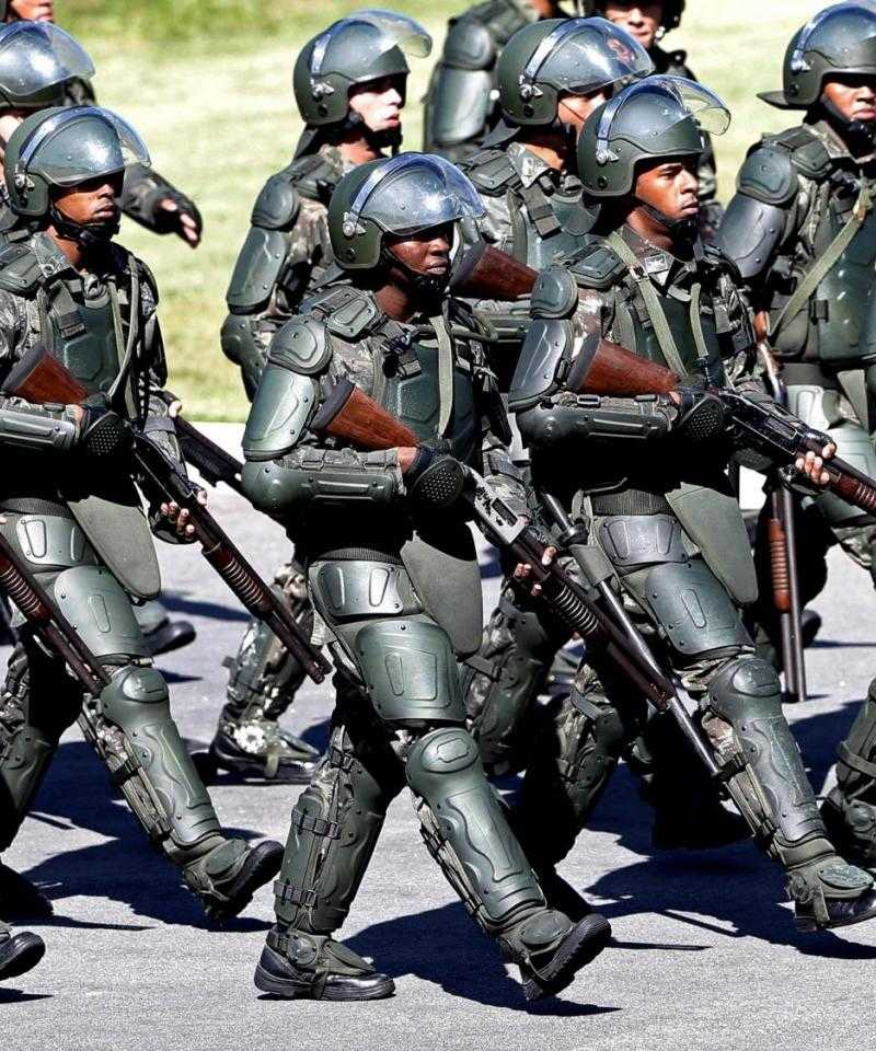 Brazilian police in riot gear