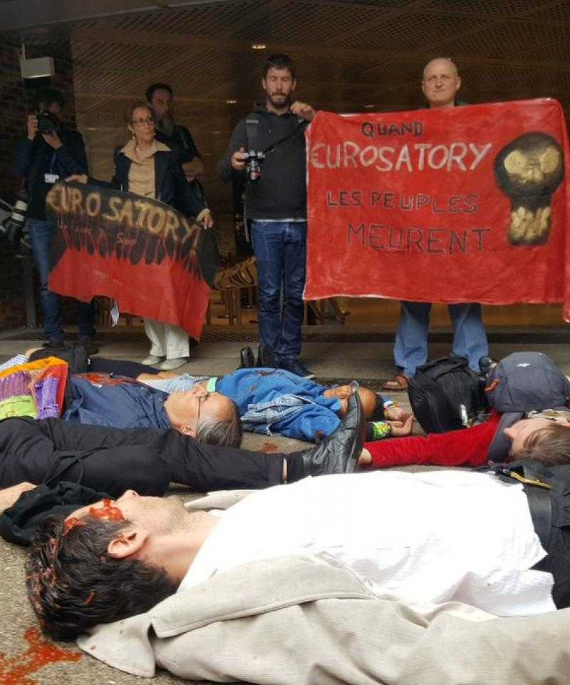 A die-in at Eurosatory in 2018