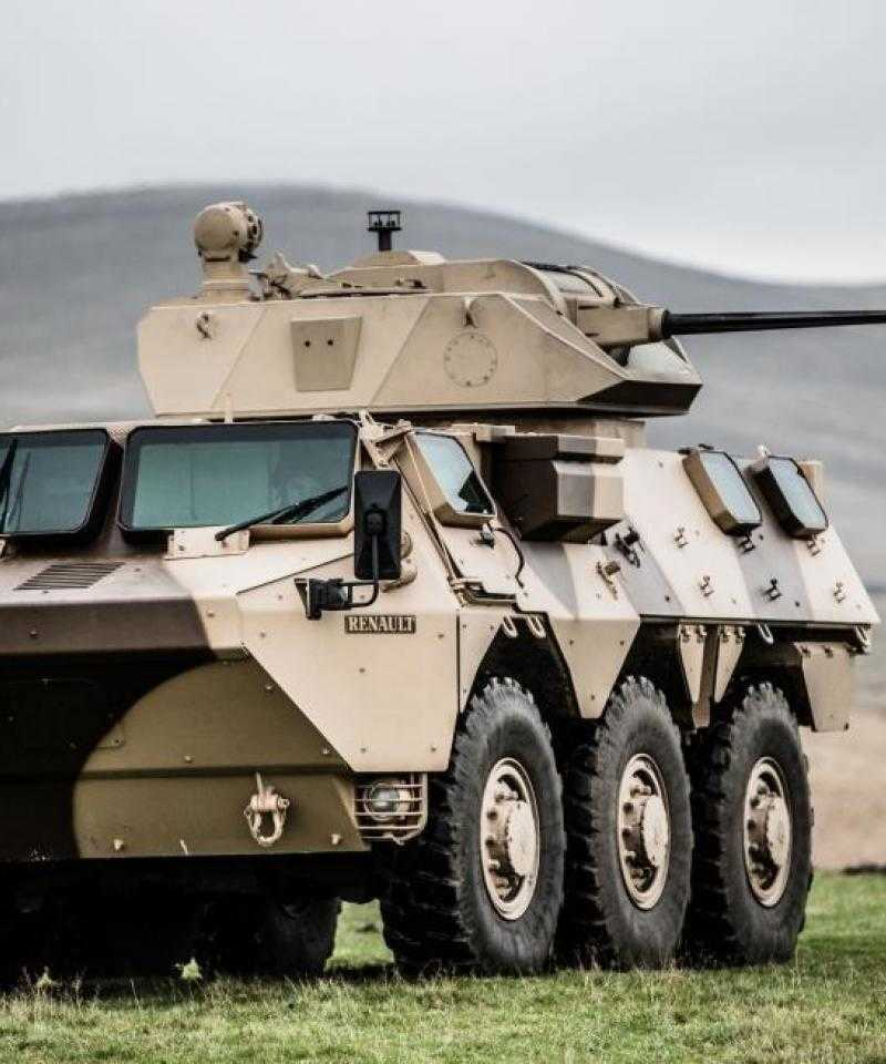 A large CMI Defence Cockerill CPWS turret on top of an armoured vehicle