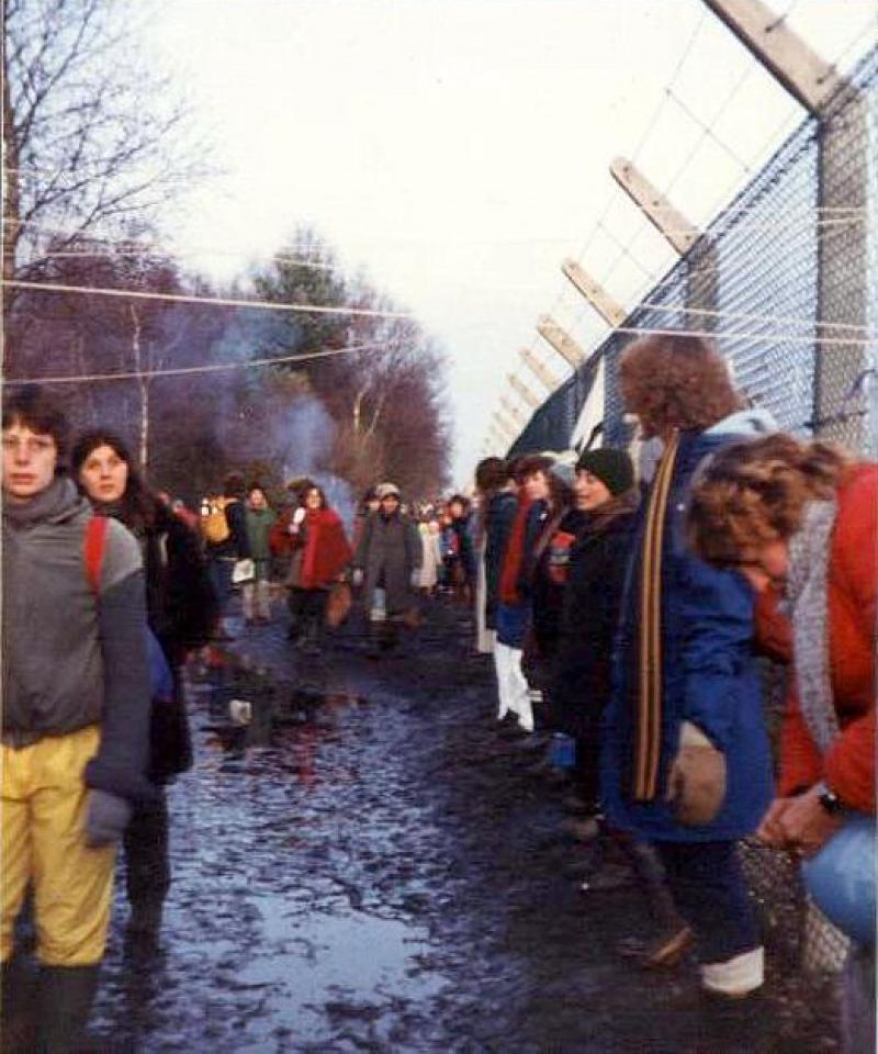 On 12 December 1982, 30,000 women held hands around the 6 miles (9.7 km) perimeter of the Greenham Common military base