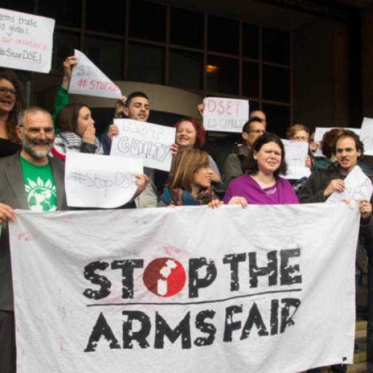 Stop the Arms Fair activists after being found 'not guilty' last year