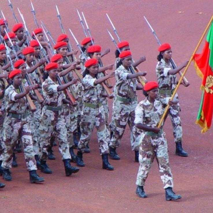 Eritrean soldiers marching