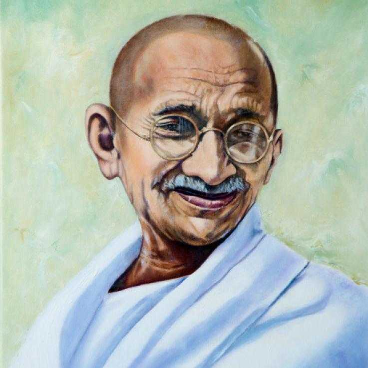 Painting of Gandhi by Oscar Lopez