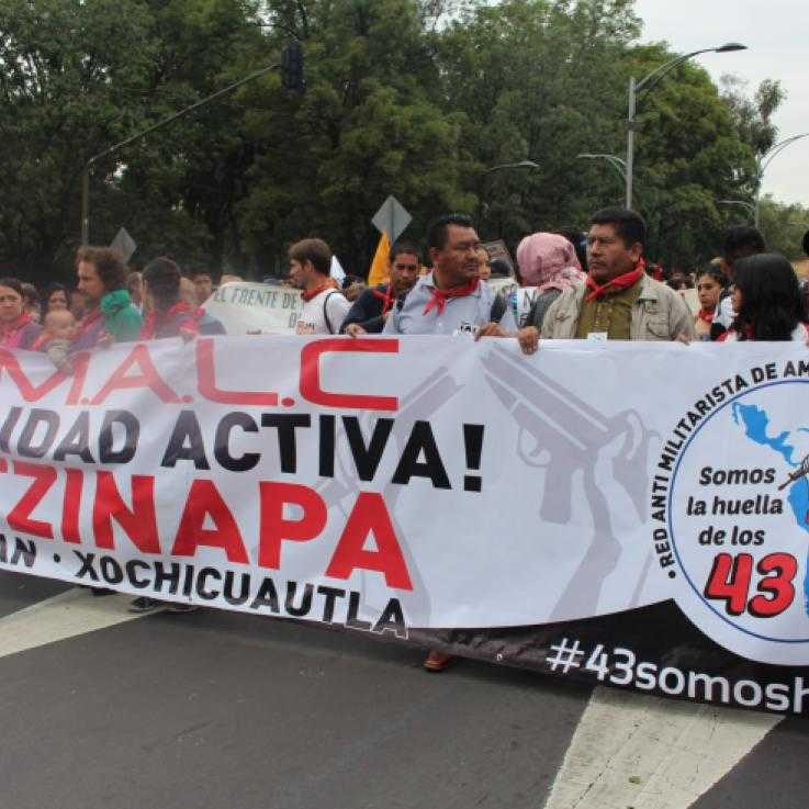 Members of the RAMALC in solidarity with the victims of Ayotzinapa
