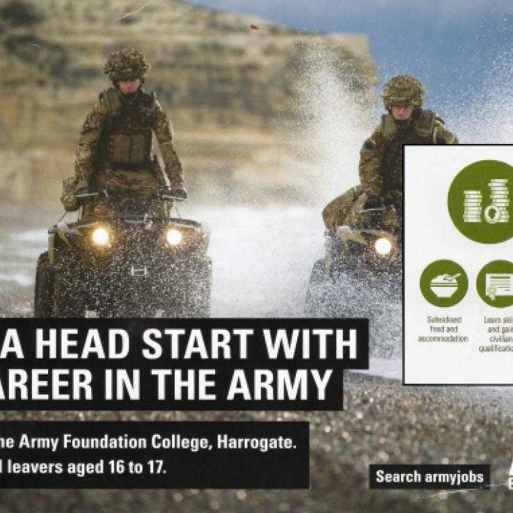 A British Army recruitment leaflet for 16 and 17 year-olds with insert from reverse side. Photo: Emma Sangster