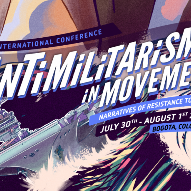 "A banner reading ""Antimilitarism in Movement"" The background depicts a stormy sea with a battleship. Through the sea larger-than-life legs are wading."