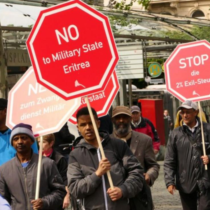 Eritrean activists protesting in Germany on International Conscientious Objection Day in 2019 - Copyright: Jürgen Tauras