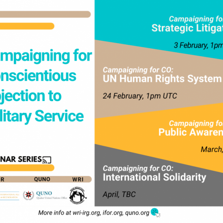 Campaigning for conscientious objection webinar series poster