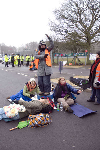 During the women's blockade at AWE Aldermaston on 15 February 2010. Photo: Cynthia Cockburn